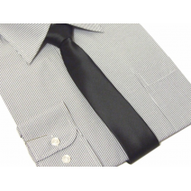 Krawat-Sledź czarny gladki szerokosc 6cm Lanvino