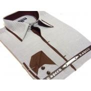 Grafitowa koszula męska JAPAN STYLE z krytą plisą i kolorowymi wykończeniami