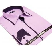 Wrzosowa koszula męska JAPAN STYLE z krytą plisą i fioletowymi wykończeniami w paski