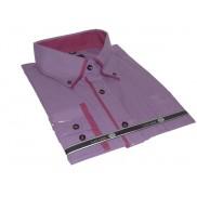Fioletowa, śliwkowa, DUŻA koszula męska z podwójnym kołnierzykiem button down w drobne paski prążki