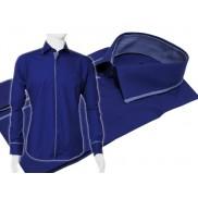 Chabrowa koszula męska slim Japan Style z krytą plisą