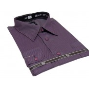 DUŻA koszula męska fioletowa śliwkowa w paski