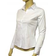 Elegancka koszula damska slim fit biała z długim rękawem