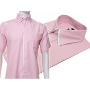 Koszula męska z podwójnym kołnierzykiem różowa w białe paski