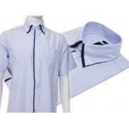 Koszula męska z podwójnym kołnierzykiem błękitna w białe paski