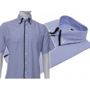 Koszula męska z podwójnym kołnierzykiem niebieska w białe paski