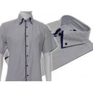 Koszula męska button down w biało-czarne prążki