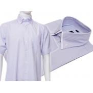 Koszula męska z podwójnym kołnierzykiem biała w niebieskie paski