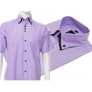 Koszula męska z podwójnym kołnierzykiem fioletowa w jasne paski