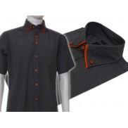 Koszula męska z podwójnym kołnierzykiem czarna w białe paski