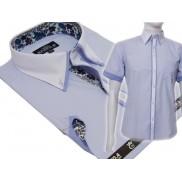 Koszula męska SLIM Japan Style biały kołnierzyk kolorowe wykończenia błękitna/ jasno-niebieska
