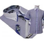 Koszula męska SLIM Japan Style biały kołnierzyk kolorowe wykończenia niebieska