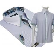 Koszula męska SLIM Japan Style biały kołnierzyk kolorowe wykończenia szaro-zielona