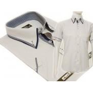 Koszula męska SLIM FIT button down z podwójnym kołnierzykiem szara