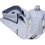 Koszula męska SLIM FIT button down z podwójnym kołnierzykiem błękitna