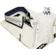Koszula męska SLIM FIT button down z podwójnym kołnierzykiem kremowa