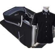 Koszula męska SLIM FIT button down z podwójnym kołnierzykiem czarna
