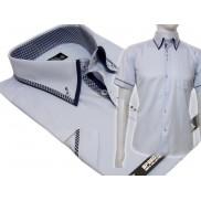 Koszula męska SLIM FIT button down z podwójnym kołnierzykiem niebieska
