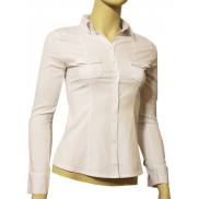 Elegancka koszula damska slim fit biała z kieszonkami