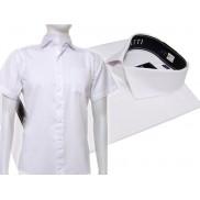 Koszula męska SLIM FIT BIAŁA w tłoczone prążki/paski