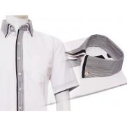 Elegancka koszula męska biała z podwójnym kołnierzykiem