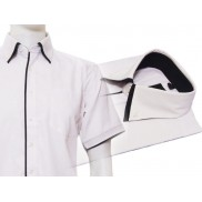 Elegancka biała koszula męska z czarnymi wykończeniami i podwójnym kołnierzykiem button down
