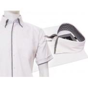 Biała koszula męska z podwójnym kołnierzykiem button down i wykończeniami w czarno-białą kratkę