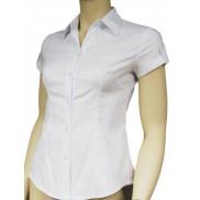 Biała koszula damska slim fit z krótkim rękawem