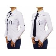 Biała koszula damska slim fit z krawatem