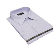 DUŻA bawełniana koszula męska biała w niebieskie prążki