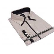 Elegancka duża koszula męska w brązowe paski button down