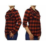 Damska koszula flanelowa SLIM czerwono czarna krata
