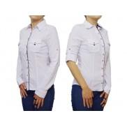 Elegancka biała koszula damska SLIM z granatowymi i czerwonymi wykończeniami