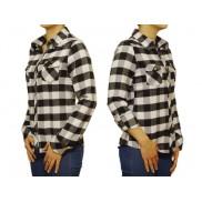 Damska koszula flanelowa SLIM biało-czarna