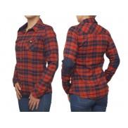 Damska koszula flanelowa SLIM czerwono-granatowa ŁATY