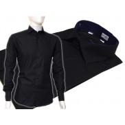 Czarna koszula męska Slim Fit na spinki lub guzik
