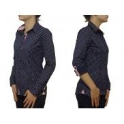 Koszula damska slim fit GRANATOWA w kropki