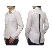 Damska koszula SLIM FIT biała z zamkiem
