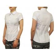Biała koszula damska slim fit krótki rękaw