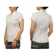 Biała koszula damska slim fit czarno-białe wykończenia