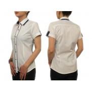 Biała koszula damska z granatowymi wykończeniami