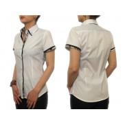Biała koszula damska z czarnymi wykończeniami