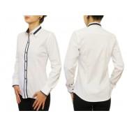 Biała koszula damska SLIM granatowe wykończenia