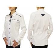 Biała koszula damska SLIM z granatowymi odszyciami