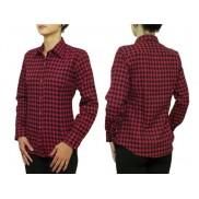 Flanelowa koszula damska SLIM czerwona w kratkę