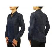 Flanelowa koszula damska SLIM niebiesko-czarna kratka