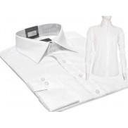 PROMOCJA! Biała koszula męska SLIM FIT z mankietem na spinki lub guzik FAZZINI