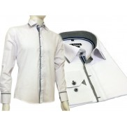 Biała koszula męska kryta plisa krój SLIM FIT