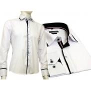Biała koszula męska kryta plisa krój SLIM FIT czarne wykończenia