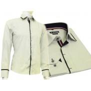 Beżowo-seledynowa koszula męska SLIM FIT kryta plisa czarne wykończenia